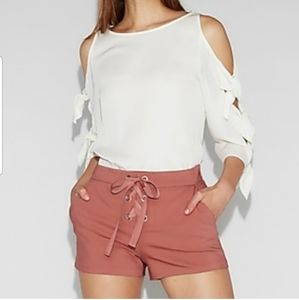 Mid rise lace up shorts